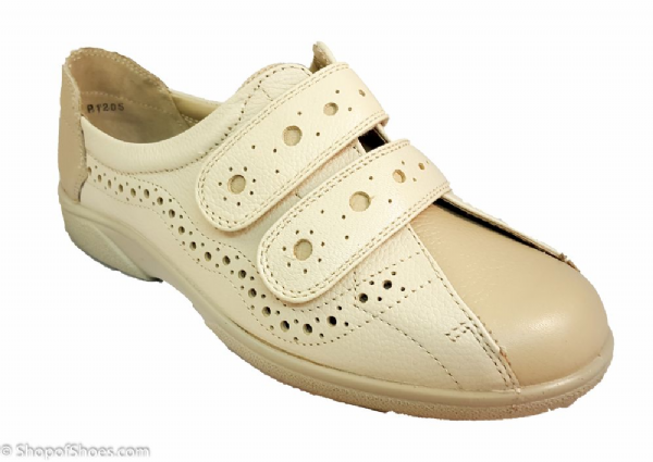Duxford 2-4E variable wide fit Velcro ladies shoe in beige